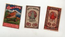 VERY OLD match box labels CHINA or JAPAN patriotic Birds Peacock       #321
